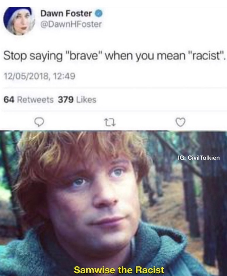 """Face - Dawn Foster O @DawnHFoster Stop saying """"brave"""" when you mean """"racist"""". 12/05/2018, 12:49 64 Retweets 379 Likes IG: CivilTolkien Samwise the Racist"""