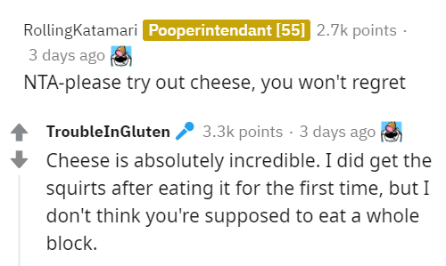 Text - RollingKatamari Pooperintendant [55] 2.7k points · 3 days ago NTA-please try out cheese, you won't regret TroubleInGluten 2 3.3k points · 3 days ago Cheese is absolutely incredible. I did get the squirts after eating it for the first time, but I don't think you're supposed to eat a whole block.