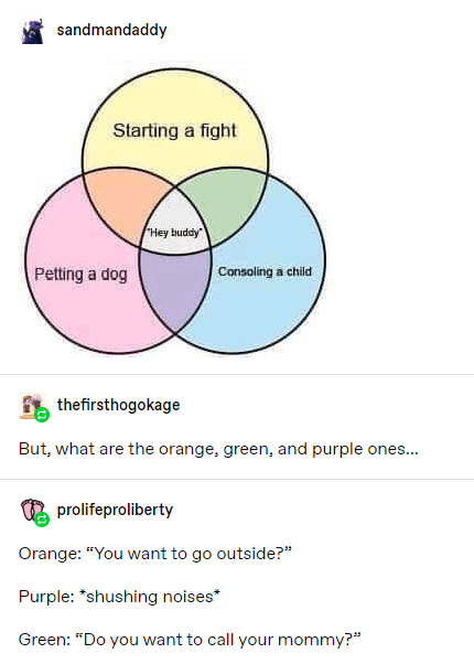"Text - sandmandaddy Starting a fight Hey buddy Petting a dog Consoling a chid thefirsthogokage But, what are the orange, green, and purple ones... prolifeproliberty Orange: ""You want to go outside?"" Purple: *shushing noises* Green: ""Do you want to call your mommy?"""