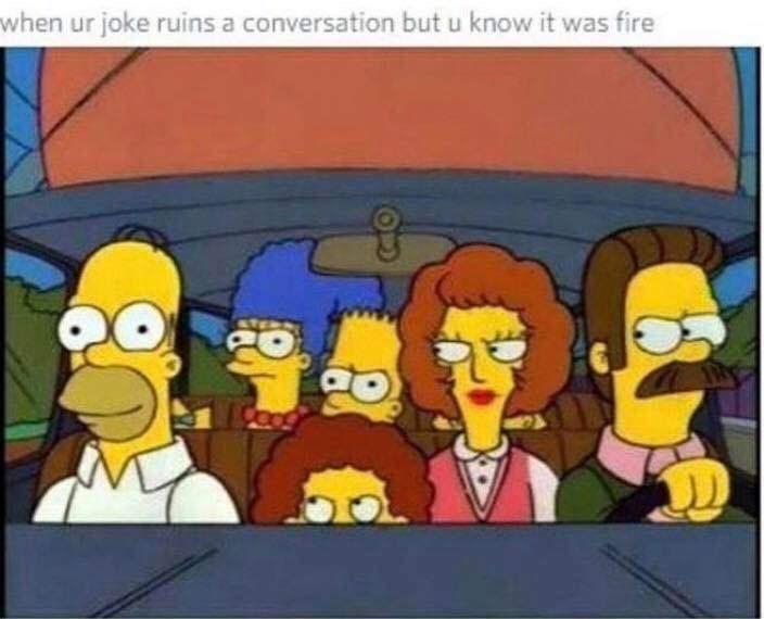 Animated cartoon - when ur joke ruins a conversation but u know it was fire