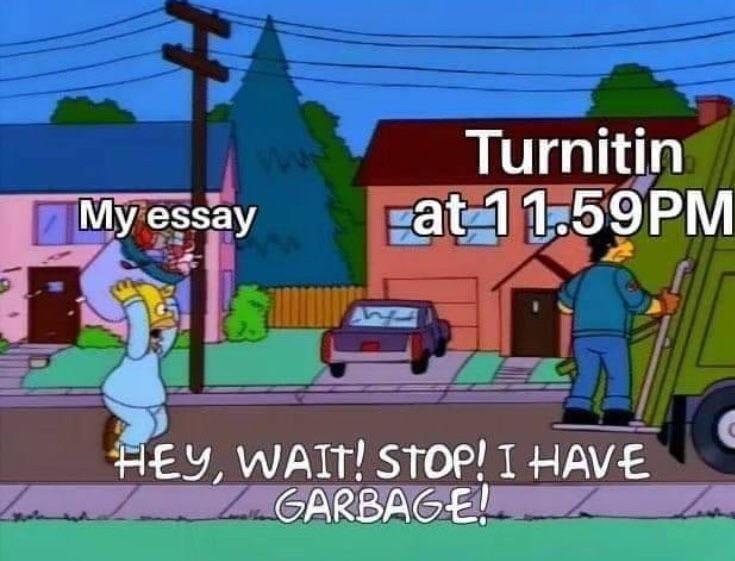 Cartoon - Turnitin My essay Fat 11.59PM HEY, WAIT! STOP! I HAVE LGARBAGE!