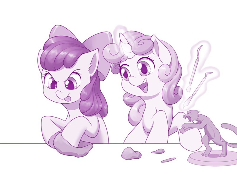 dstears calvin and hobbes Sweetie Belle apple bloom ponify - 9501778432
