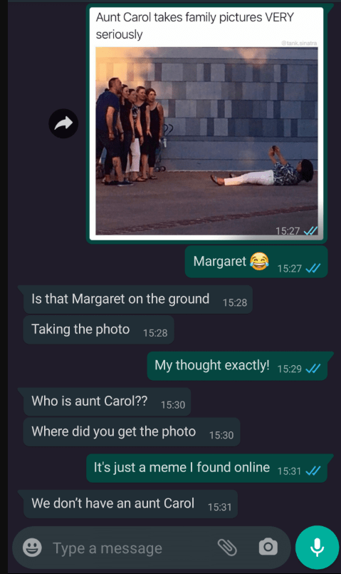 Text - Aunt Carol takes family pictures VERY seriously tank.sinatra 15:27 Margaret 15:27 / Is that Margaret on the ground 15:28 Taking the photo 15:28 My thought exactly! 15:29 / Who is aunt Carol?? 15:30 Where did you get the photo 15:30 It's just a meme I found online 15:31 / We don't have an aunt Carol 15:31 ☺ Type a message