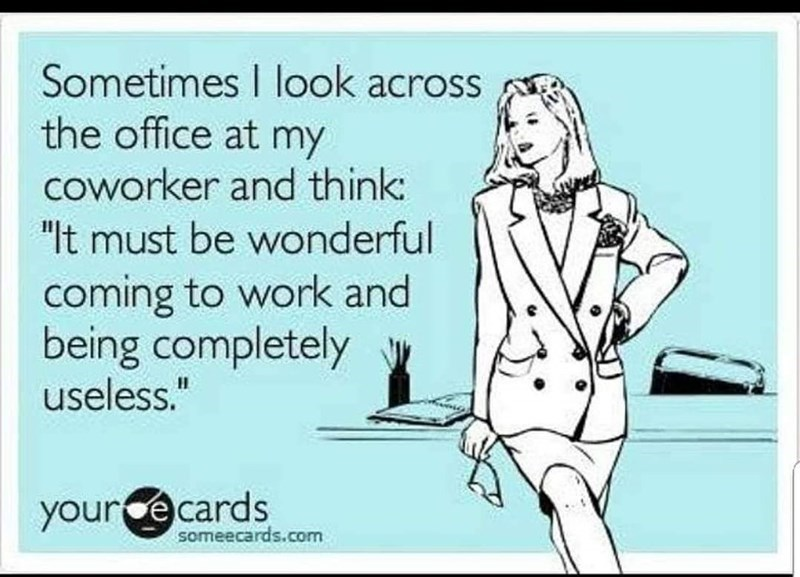 """Text - Sometimes I look across the office at my coworker and think: """"It must be wonderful coming to work and being completely useless."""" yource cards someecards.com"""