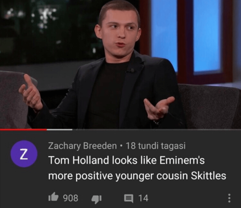 Photo caption - Zachary Breeden • 18 tundi tagasi Tom Holland looks like Eminem's more positive younger cousin Skittles It 908 目14