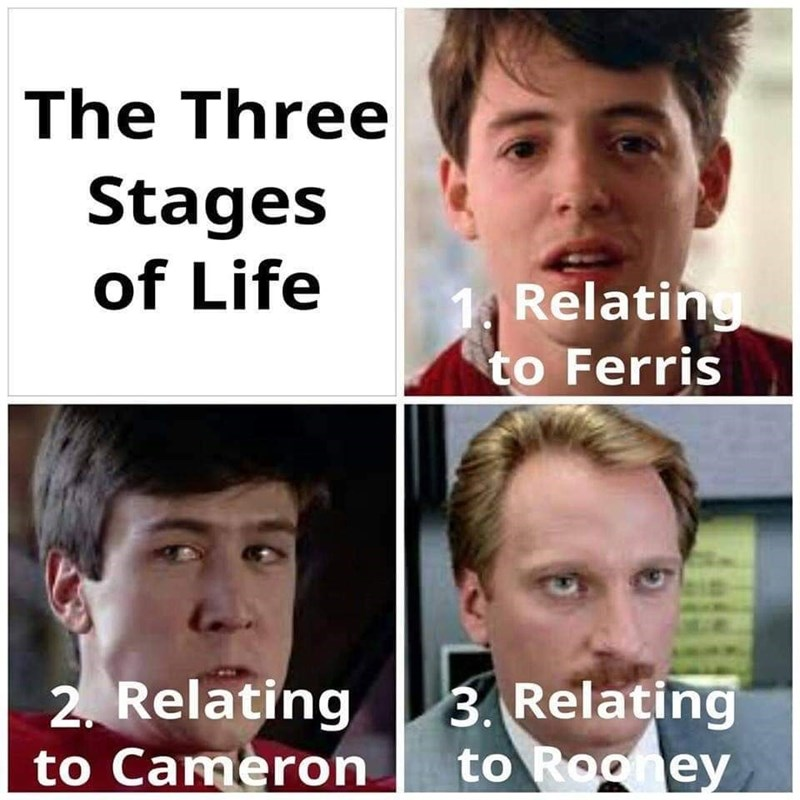 Face - The Three Stages of Life Relating to Ferris 2. Relating to Cameron 3. Relating to Rooney