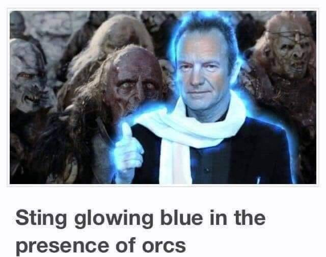 People - Sting glowing blue in the presence of orcs