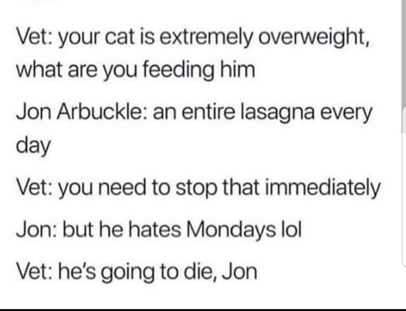 Text - Vet: your cat is extremely overweight, what are you feeding him Jon Arbuckle: an entire lasagna every day Vet: you need to stop that immediately Jon: but he hates Mondays lol Vet: he's going to die, Jon