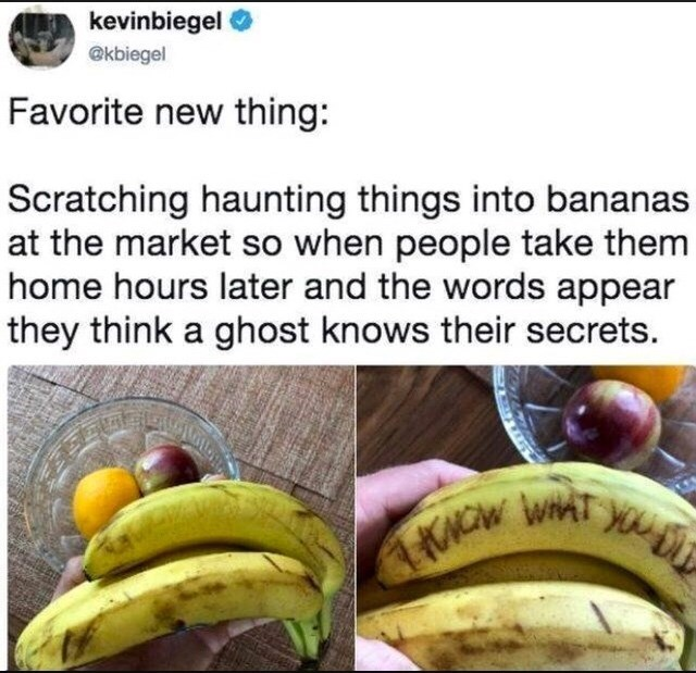 Banana family - kevinbiegel @kbiegel Favorite new thing: Scratching haunting things into bananas at the market so when people take them home hours later and the words appear they think a ghost knows their secrets. KNCW WAT