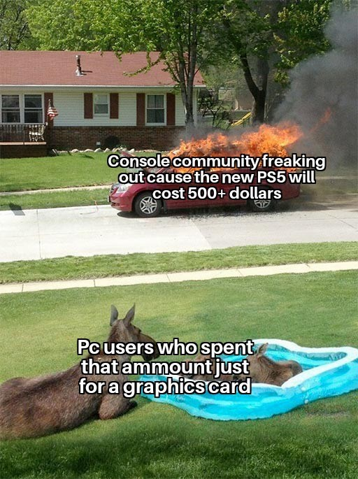 Lawn - Console community freaking out cause the new PS5 will cost 500+ dollars Pc users who spent that ammount just fora graphics card