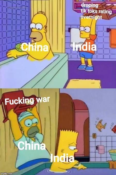 Cartoon - droping tik toks rating overnight saoresville China India Fucking war China India mgfip.com