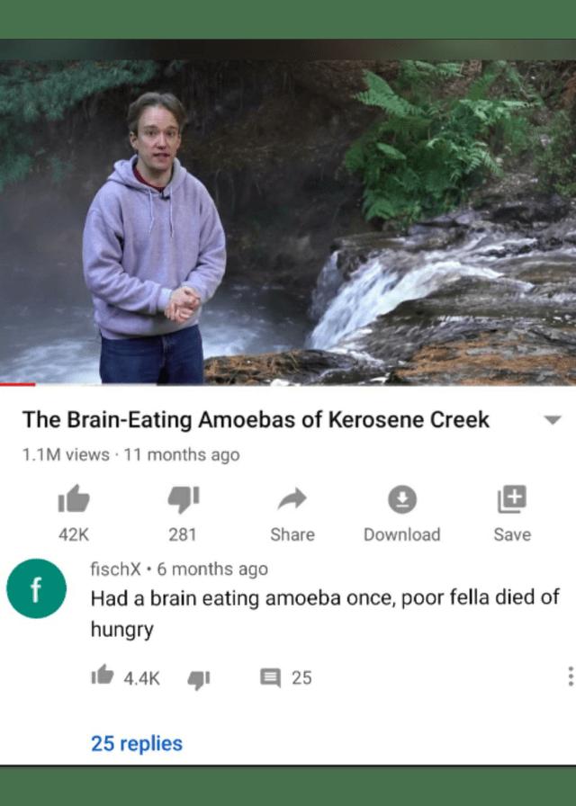 Water resources - The Brain-Eating Amoebas of Kerosene Creek 1.1M views · 11 months ago + 42K 281 Share Download Save fischX • 6 months ago Had a brain eating amoeba once, poor fella died of hungry 4.4K 目25 25 replies