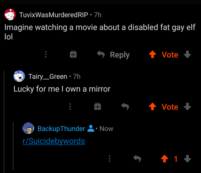 Text - TuvixWasMurderedRIP • 7h Imagine watching a movie about a disabled fat gay elf lol Reply Vote Tairy_Green • 7h Lucky for me I own a mirror Vote 3 BackupThunder • Now r/Suicidebywords 1 1 +
