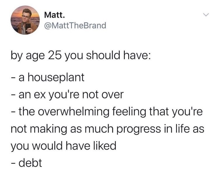 Text - Matt. @MattTheBrand by age 25 you should have: - a houseplant - an ex you're not over - the overwhelming feeling that you're not making as much progress in life as you would have liked - debt