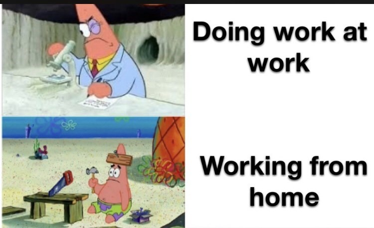 Cartoon - Doing work at work Working from home