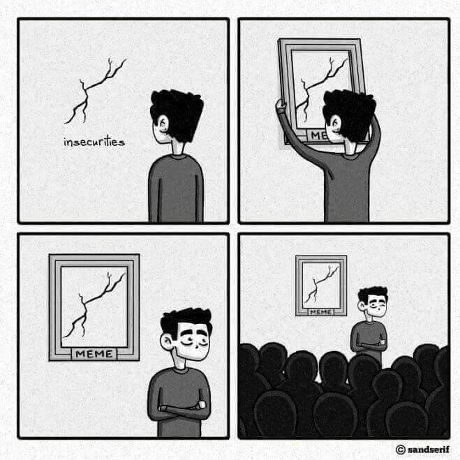 Cartoon - insecurities ME IMEME MEME © sandserif