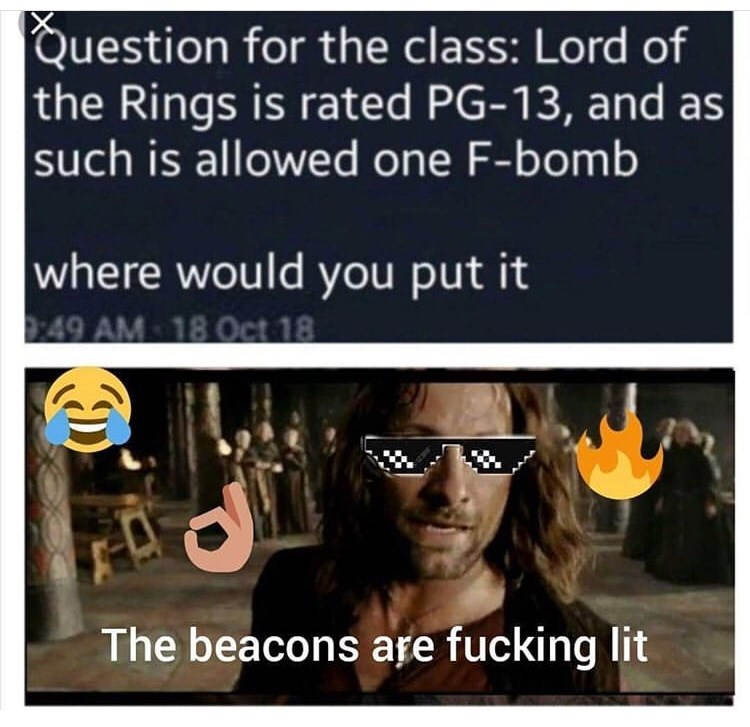 Eyewear - Question for the class: Lord of the Rings is rated PG-13, and as such is allowed one F-bomb where would you put it 49 AM 18 Oet 18 The beacons are fucking lit