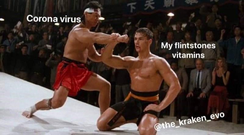 Barechested - 下天期 Corona virus My flintstones vitamins @the_kraken_evo