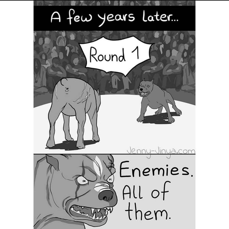 Cartoon - A few years later. Round 1 Jenny-inyacom Enemies. All of them.
