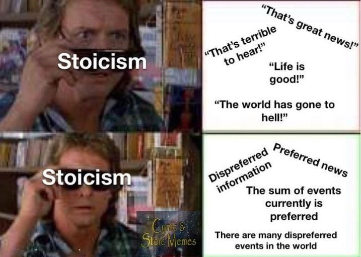 """Text - """"That's great news!"""" """"That's terrible to hear!"""" """"Life is Stoicism good!"""" """"The world has gone to hell!"""" Preferred news Dispreferred information Stoicism The sum of events currently is preferred C Store Memes There are many dispreferred events in the world"""