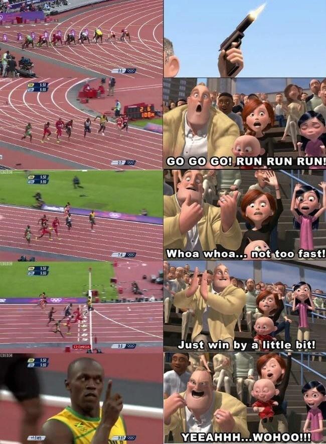 Athlete - GO GO GO! RUN RUN RUN! 9.54 Whoa whoa... not too fast! 9.58 9.99 Just win by a little bit! OMEGA $.58 YEEAHHH...WOHOO!!!