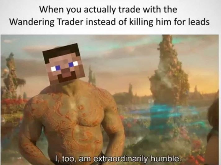 Human - When you actually trade with the Wandering Trader instead of killing him for leads I, too, am extraordinarily humble.