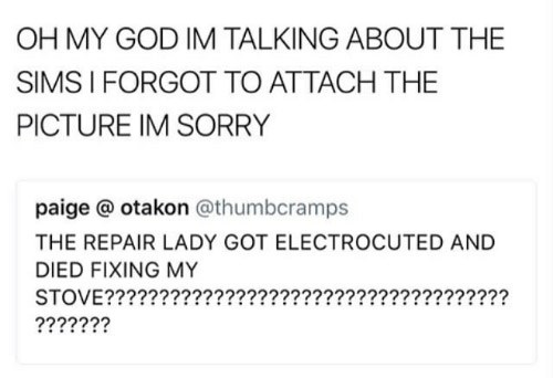 Text - OH MY GOD IM TALKING ABOUT THE SIMS I FORGOT TO ATTACH THE PICTURE IM SORRY paige @ otakon @thumbcramps THE REPAIR LADY GOT ELECTROCUTED AND DIED FIXING MY STOVE??????? ????? ?????????????????????? ???????