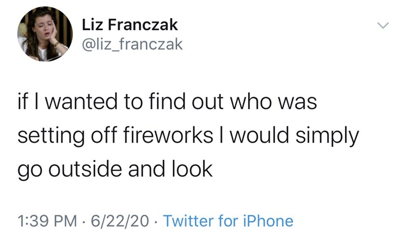 Text - Liz Franczak @liz_franczak if I wanted to find out who was setting off fireworks I would simply go outside and look 1:39 PM · 6/22/20 · Twitter for iPhone