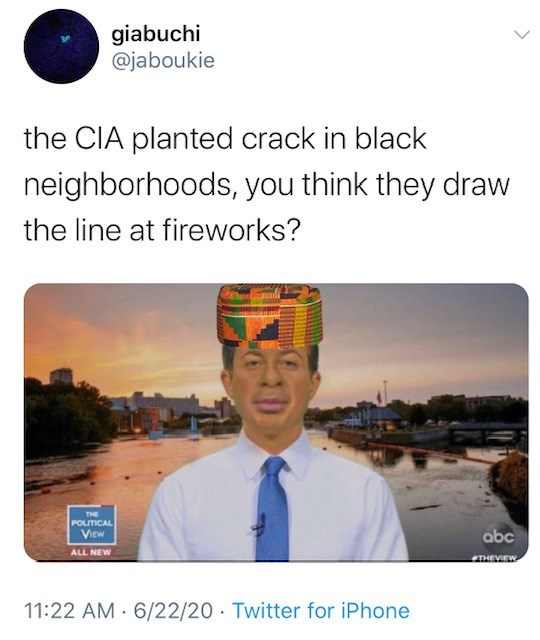 Text - giabuchi @jaboukie the CIA planted crack in black neighborhoods, you think they draw the line at fireworks? THE POLITICAL VIEW abc ALL NEW THEYIEW 11:22 AM 6/22/20 Twitter for iPhone