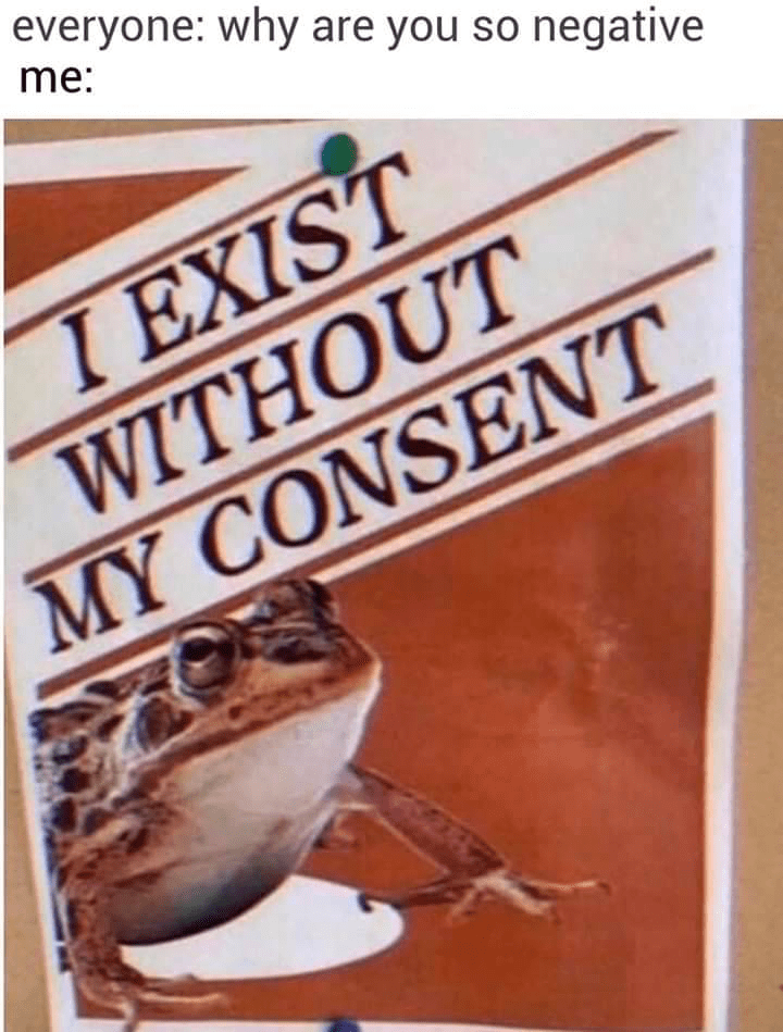 "Funny meme that reads, ""Everyone: why are you so negative; me: ..."" above an image of a frog saying, ""I exist without my consent"""