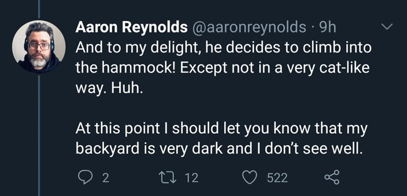 Text - Aaron Reynolds @aaronreynolds · 9h And to my delight, he decides to climb into the hammock! Except not in a very cat-like way. Huh. At this point I should let you know that my backyard is very dark and I don't see well. 27 12 522