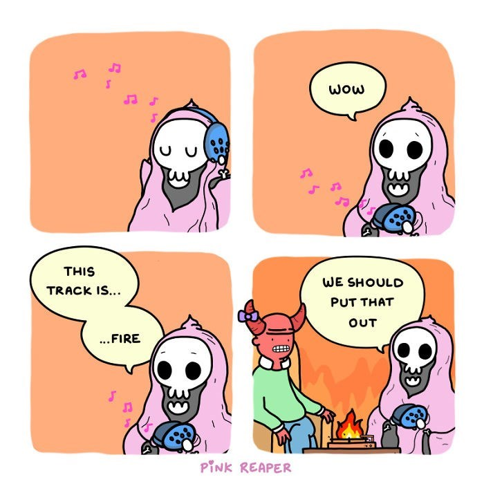 Cartoon - WOw THIS WE SHOULD TRACK IS... PUT THAT OUT ..FIRE PINK REAPER 39 33