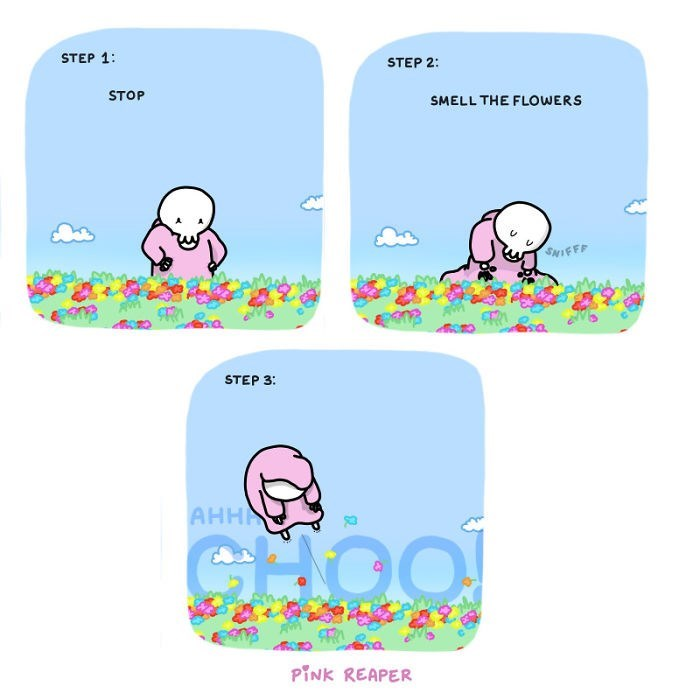Text - STEP 1: STEP 2: STOP SMELL THE FLOWERS SNIFFF STEP 3: AHHA CHO PINK REAPER