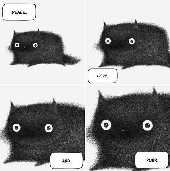 Black cat - PEACE. O o LOVE. AND. PURR.