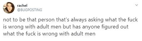 Text - rachel @BUGPOSTING not to be that person that's always asking what the fuck is wrong with adult men but has anyone figured out what the fuck is wrong with adult men