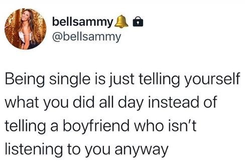 Text - bellsammy. @bellsammy Being single is just telling yourself what you did all day instead of telling a boyfriend who isn't listening to you anyway