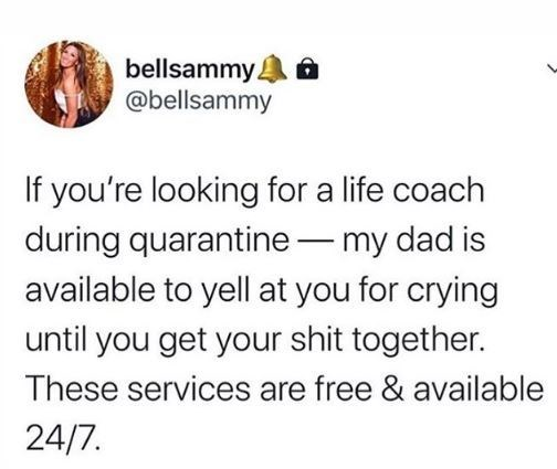 Text - bellsammy. @bellsammy If you're looking for a life coach during quarantine – my dad is available to yell at you for crying until you get your shit together. These services are free & available 24/7.