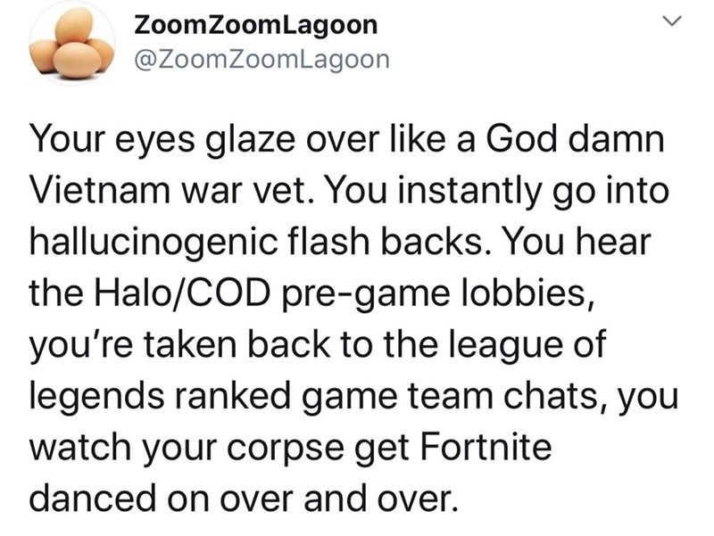 Text - ZoomZoomLagoon @ZoomZoomLagoon Your eyes glaze over like a God damn Vietnam war vet. You instantly go into hallucinogenic flash backs. You hear the Halo/COD pre-game lobbies, you're taken back to the league of legends ranked game team chats, you watch your corpse get Fortnite danced on over and over. >