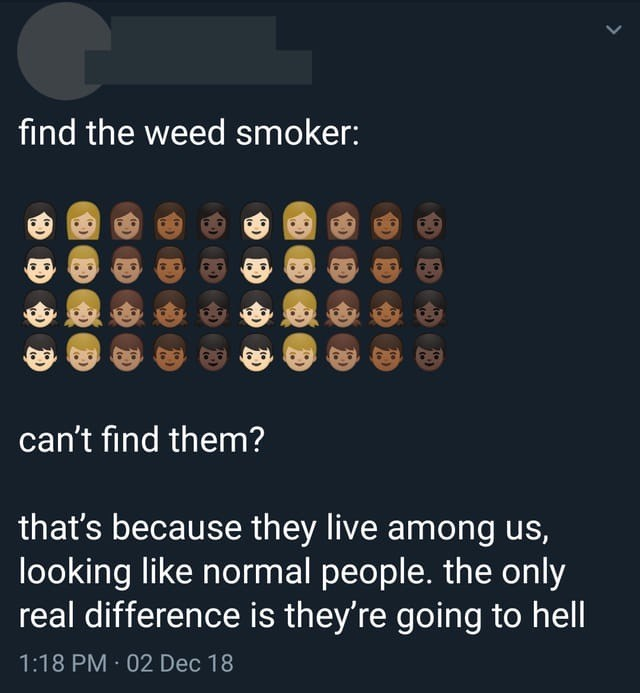 Text - find the weed smoker: can't find them? that's because they live among us, looking like normal people. the only real difference is they're going to hell 1:18 PM 02 Dec 18 > 公