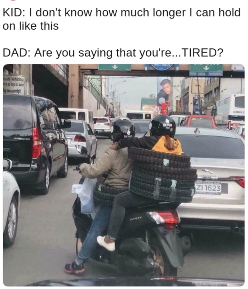 Mode of transport - KID: I don't know how much longer I can hold on like this DAD: Are you saying that you're...TIRED? vate Vehicles pa tajo a Lane GERMAN SKYGO 23HASE ZI 1623 MMIN