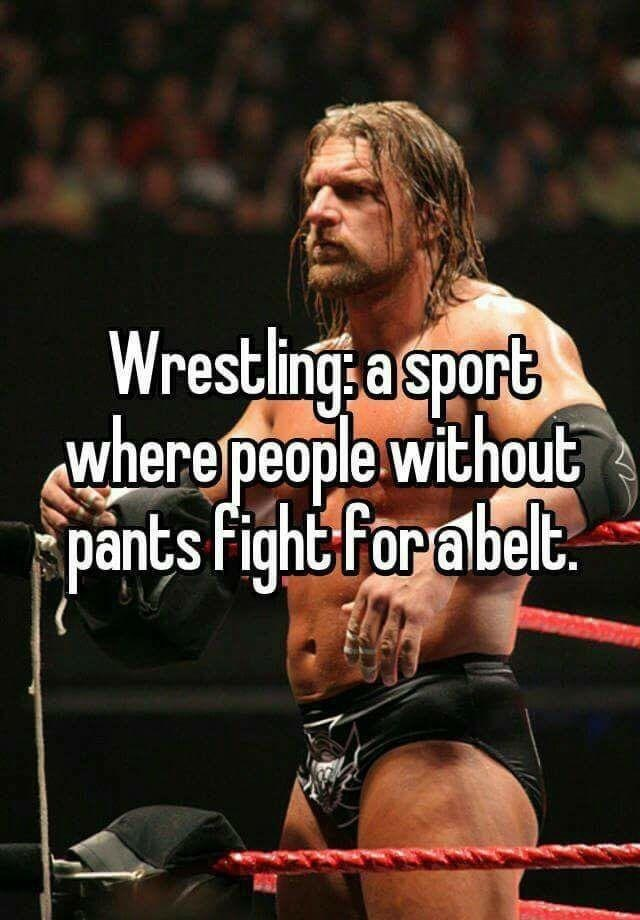 Wrestler - Wrestling: a sport where people without pants Fight:for abelt.
