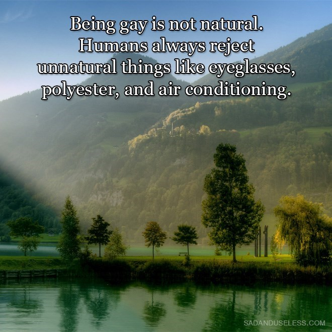 Natural landscape - Being gay is not natural. Humans alwaysS reject unnatural things like eyeglasses, polyester, and air conditioning. SADANDUSELESS.COM