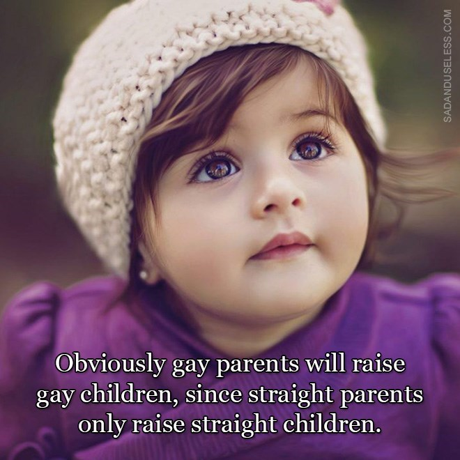 Face - Obviously gay parents will raise gay children, since straight parents only raise straight children. SADANDUSELESS.COM