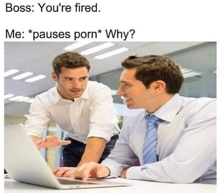 Text - Job - Boss: You're fired. Me: *pauses porn* Why?