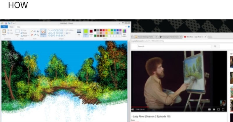 Tumblr user follows Bob Ross with MS Paint and makes good painting.