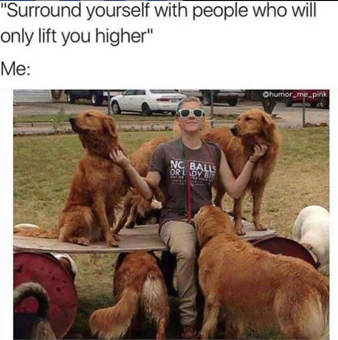 """Dog - """"Surround yourself with people who will only lift you higher"""" Me: Ohumor_me_pink NC BALLS OR L DY BI"""