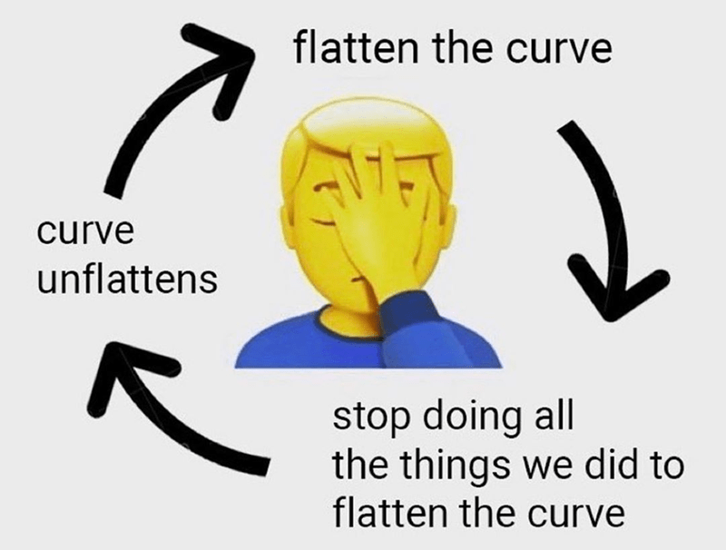 funny meme about flattening the curve | facepalm emoji flowchart curve unflattens flatten the curve stop doing all the things we did to flatten the curve