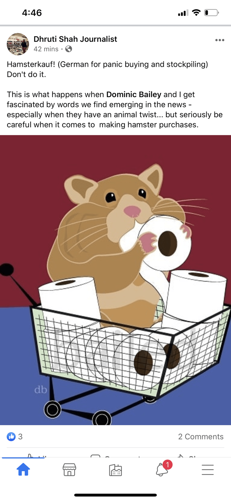 Cartoon - 4:46 Dhruti Shah Journalist •.. 42 mins Hamsterkauf! (German for panic buying and stockpiling) Don't do it. This is what happens when Dominic Bailey and I get fascinated by words we find emerging in the news - especially when they have an animal twist... but seriously be careful when it comes to making hamster purchases. db 3 2 Comments 1