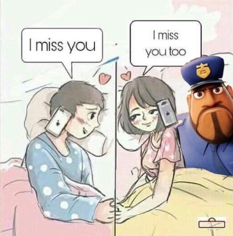 Text - Cartoon - I miss I miss you you too