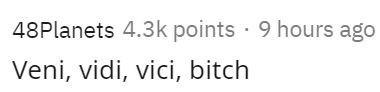 Text - 48Planets 4.3k points · 9 hours ago Veni, vidi, vici, bitch